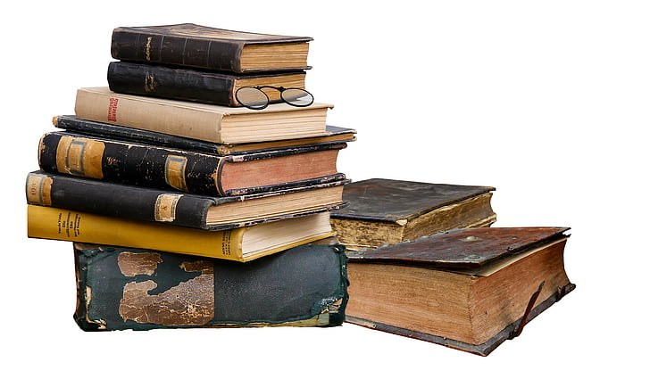 literatura, llibre, llegir, pila, vell, llibres, aïllats