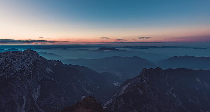 Horizon, maastik, mägi, Peak, Sunrise, Sunset, Valley