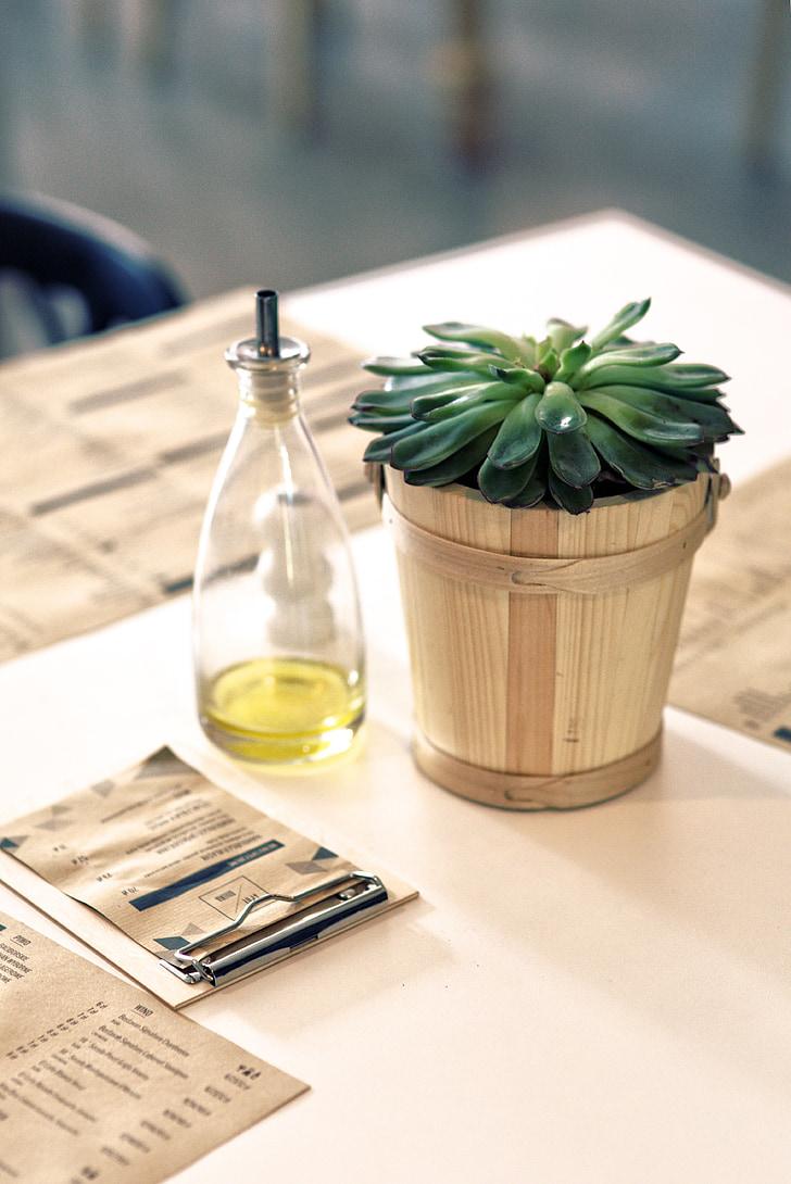 taim, õli, Tabel, Restoran, sisekujundus, menüü, paber