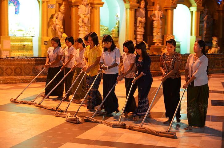 apkopējiem, Shwedagon mirabello, pagoda, noslaukiet, iztīriet