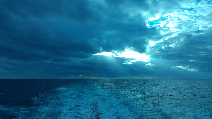 kryssning, vakna, blå, molnet, Karibien, havet, vatten