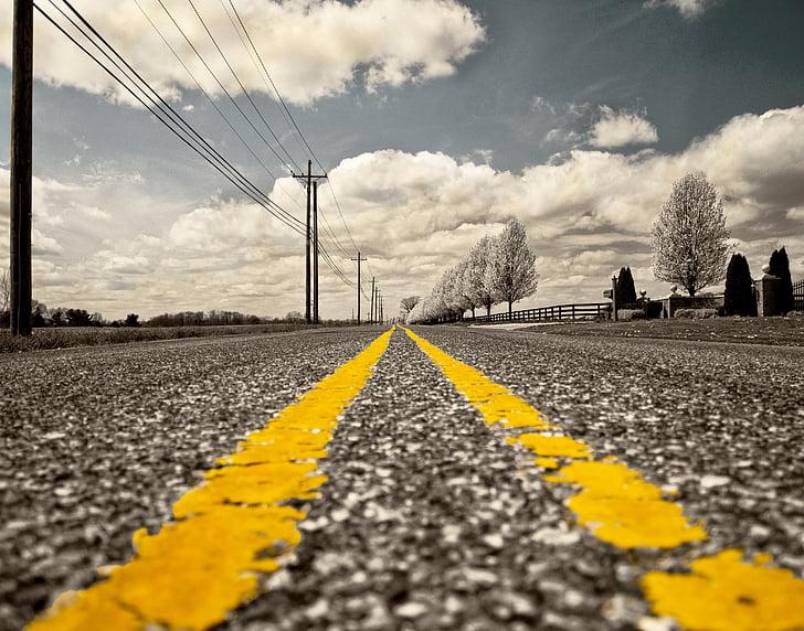 weg, Wegmarkering, Straat, mijl, reizen, overhead kabel, bovenleiding