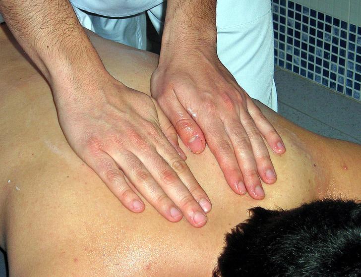 massage, mains, thérapie