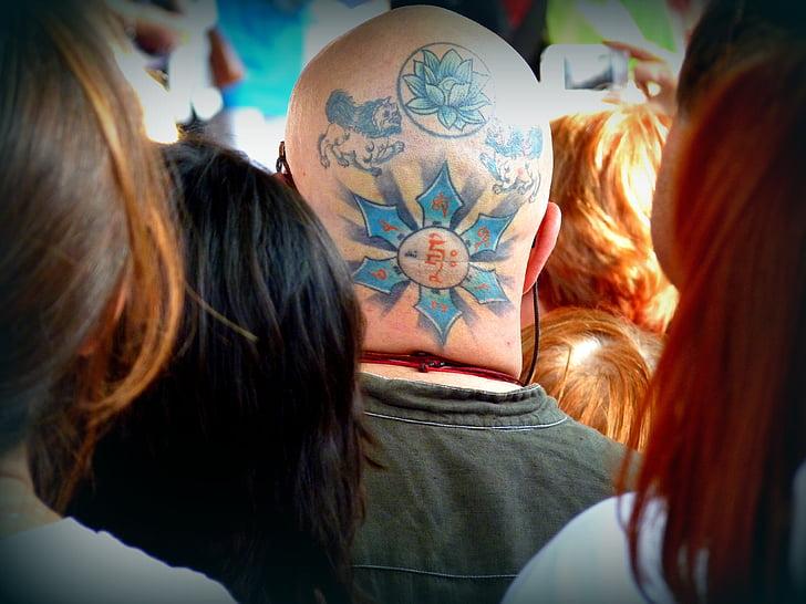 tatoo, množice, barve, človek, vodja