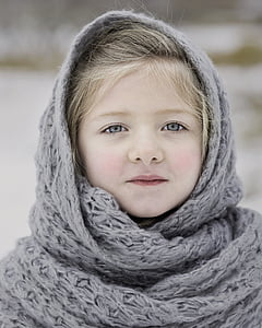 winter, scarf, cold, season, girl, young, cute