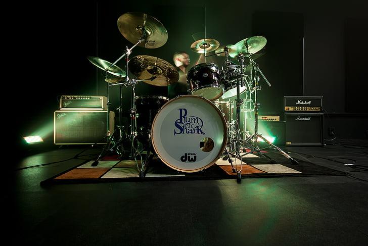 tambor, bateria, viure, Mostra el, amplificador, música, músic