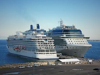 skipet, frakt, to, sjøen, blå, port, byen