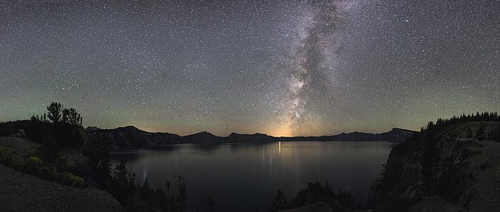 Via Làctia, nit, paisatge, siluetes, Parc Nacional del llac del cràter, Oregon, EUA
