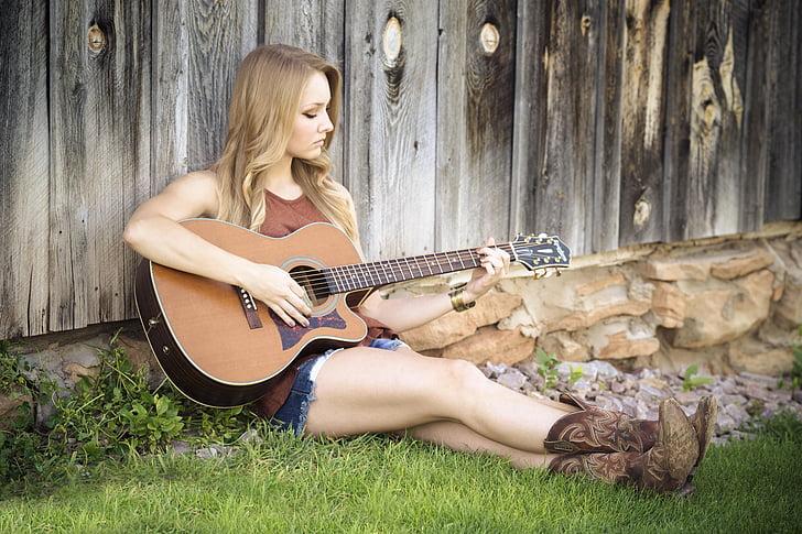 gitar, land, jente, musikk, gitarist, landskapet, akustisk gitar
