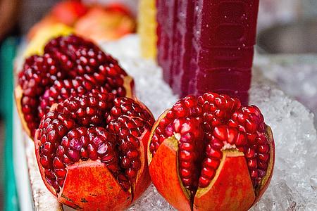 quả lựu, nước trái cây, trái cây, tươi, thực phẩm, màu đỏ, khỏe mạnh