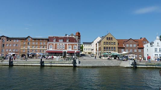 Schlei, víz, Kappeln, Mecklenburg, Port, épület, sétány