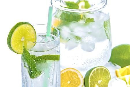 aigua mineral, calç, gel, menta, vidre, beguda, fred