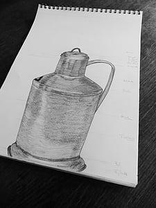 dessin, leçons de dessin, croquis, pot, bloc, papier, peinture