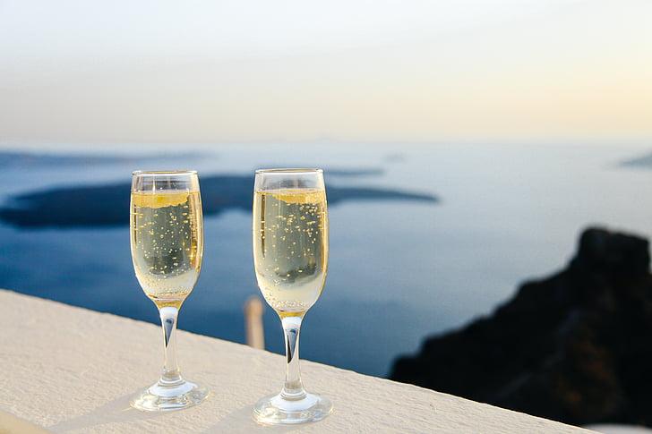 vinho espumante, bolhas, óculos, dois, modo de exibição, Panorama, mar