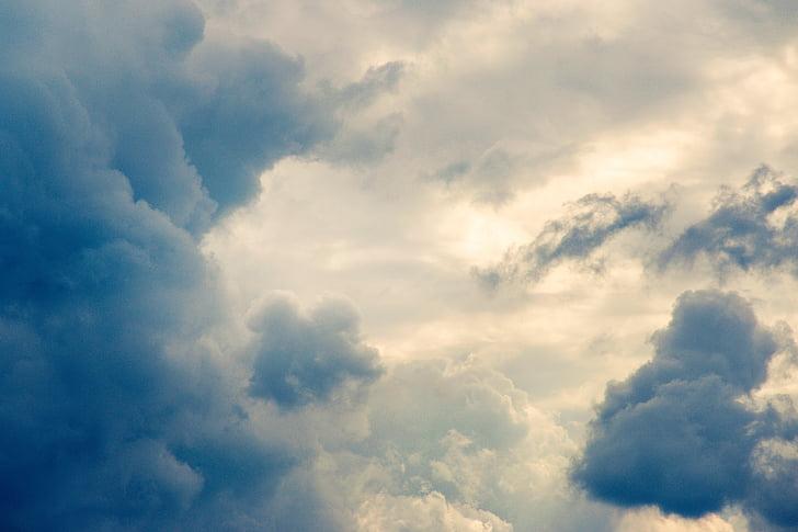 debesys, į dangų, mėlyna, geltona, Audra, gamtos grožį, Gamta