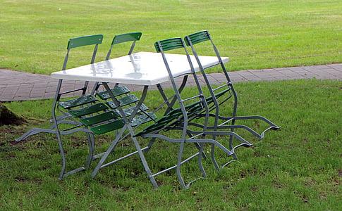 cadires metàl·liques, mobiliari de jardí, Taula hort, cadires de jardí, cadires, taula, seient