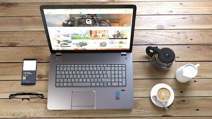 laptop, káva, Práca, Pracovná, pracovisko, Lancer, Technológia