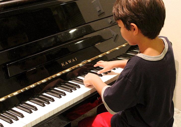 klavír, Chlapec, přehrávání, učení, klavír, dítě, hrát na klavír, přístroj