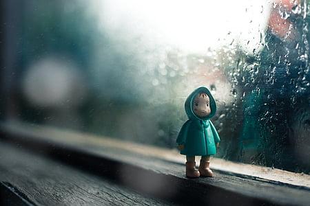 rain, drops, water, glass, toy, figure, jacket