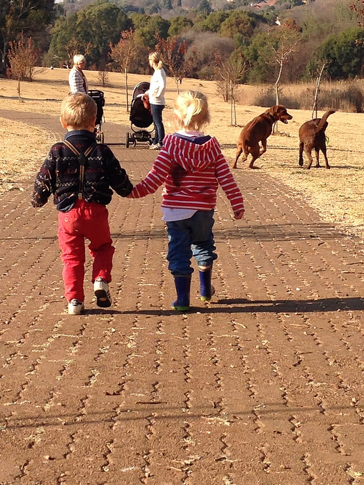 kids, cute, holding hands, happiness, walk, family, friends