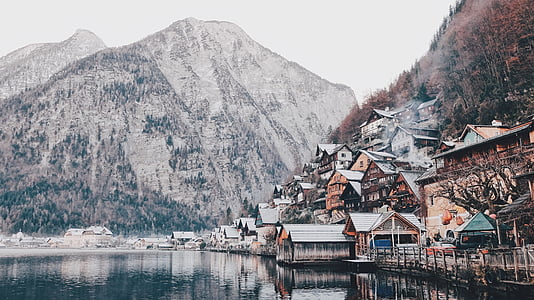 kalla, hus, sjön, landskap, Mountain, Utomhus, natursköna