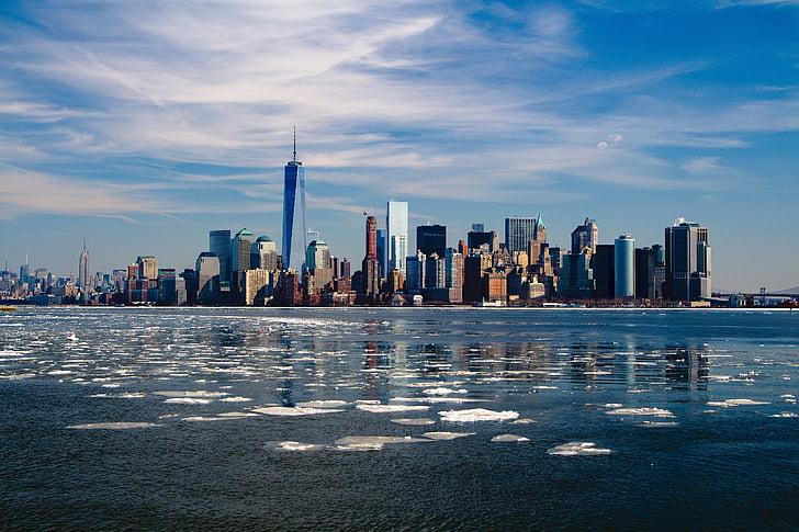 뉴욕, 스카이 라인, 뉴욕 시티, 도시, 맨하탄, 미국, 파노라마