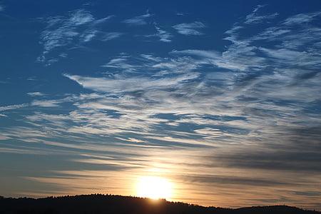 saulriets, debesis, vakara debesis, krēslas stundā, saule