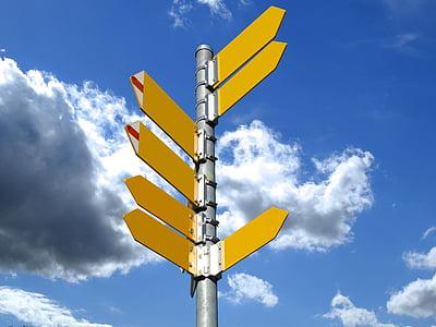 directori, panells, sender, Direcció, fletxa, objectiu, núvols