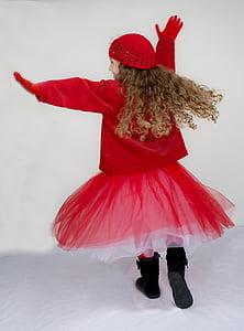 little girl, dancing, spinning, twirling, happy, joy, red tutu