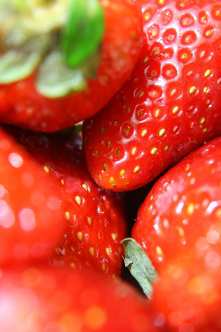 maduixes, close-up, maduixa, fruita, sucoses, aliments, madures