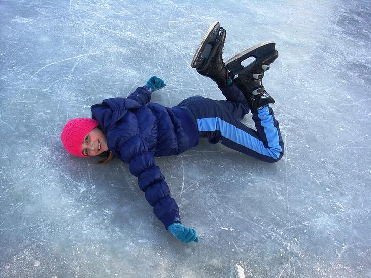 ice skating, fall, girl, laugh, happy, smooth, fun
