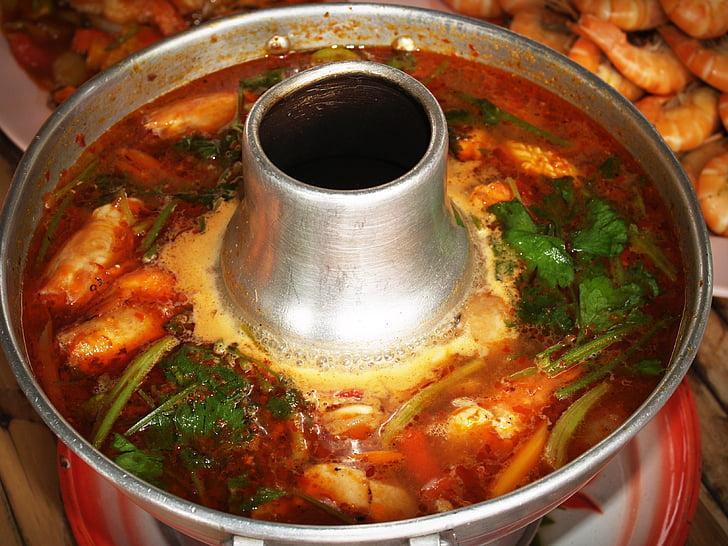 食品, 泰式虾仁汤, 糖醋泰国汤, 香菜, 泰国汤, 最喜欢的泰国菜, 热辣