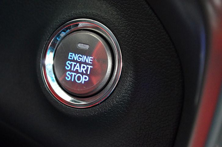 Inici, botó, ignició, sistema, empenta, cotxe, keyless