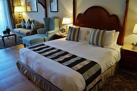 bed, double bed, room, hotel, holidays, bedroom, luxury