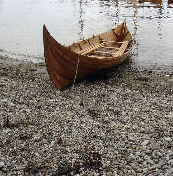 båt, Viking båt, Viking, träbåt, vener