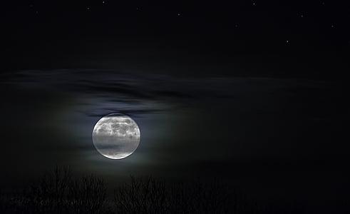 mesačný svit, noc fotografiu, noc, reflexie, mesiac, mystické, Sky