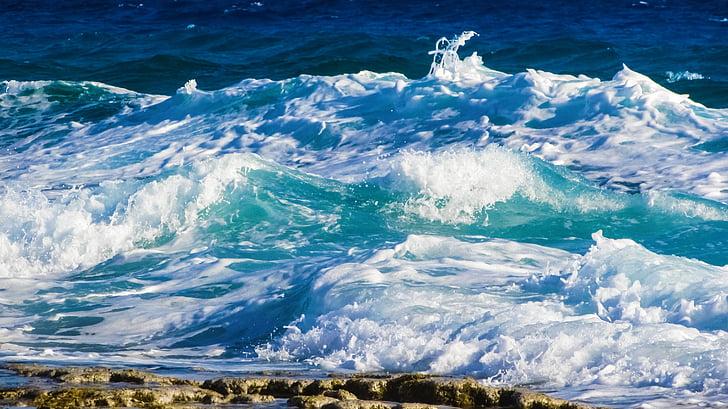 hullám, Lenyûgözõ, tenger, Beach, természet, spray, hab