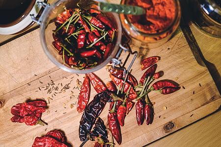 Xile, pebre, vermell, aliments, espècies, calenta, picant