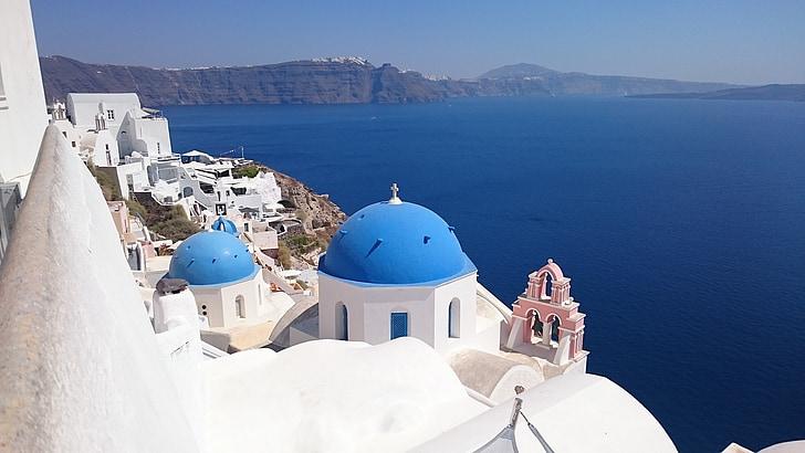 Santorini, otok, vasi, morje, Ocean, Seascape, sredozemski