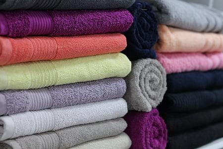 håndklæder, sengetøj, butik, håndklæder, hvid, rejse, til salg