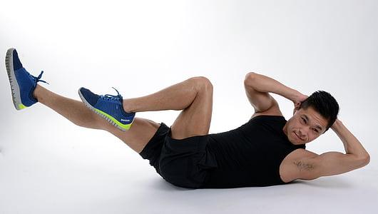 abdominal, ABS, exercici, cos, gimnàs, homes, esport
