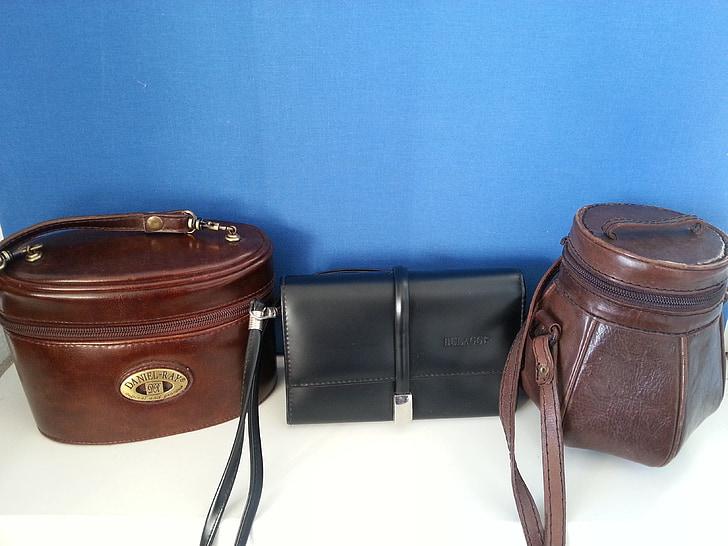 vrećice, tri, modni, smeđa, Crna