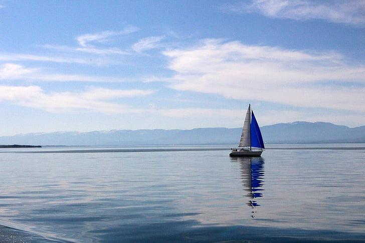 lake geneva, lake, sail, blue, nature, water, view