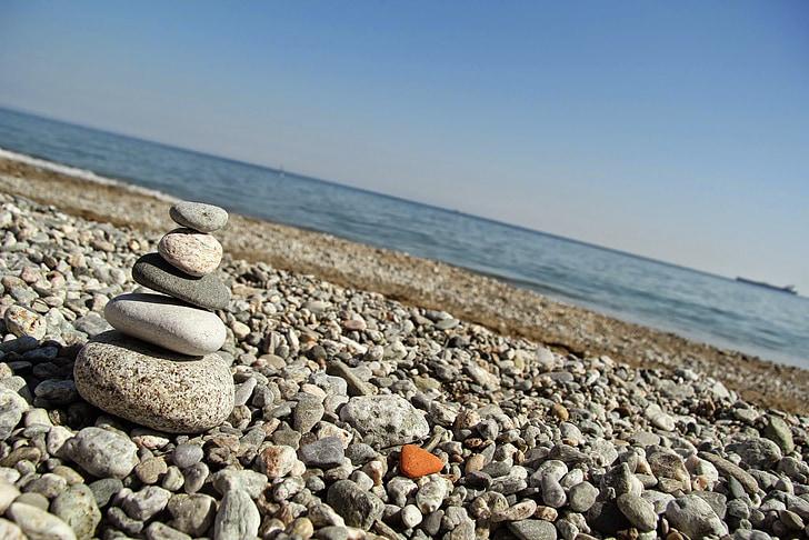 Mar, pedres, Zen, pedres de Zen, platja, l'aigua, l'estiu