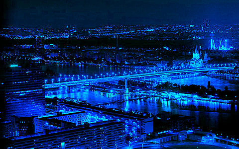 the blue city, city, blue city scene, architecture, city wallpaper, city bridge, city image