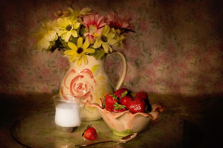 Bodegó, maduixes en un bol, crema, configuració de taula, fruita, frescor, flor
