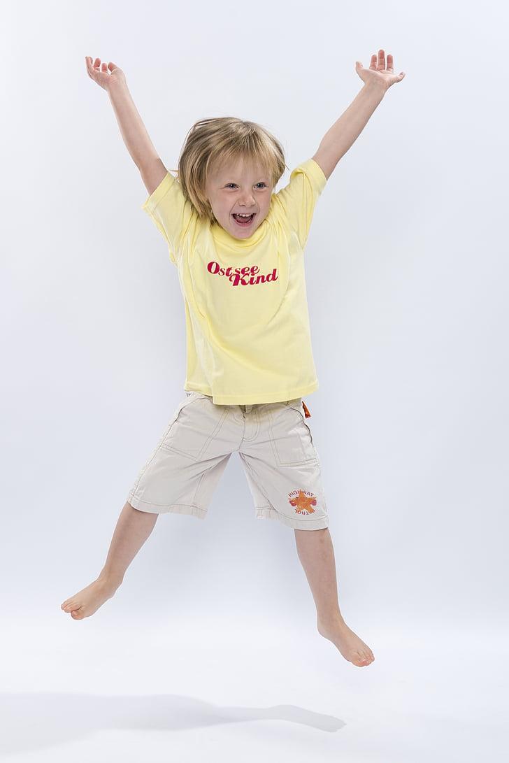 nen, salts, rient, alegre, bon humor, diversió, salt d'aire