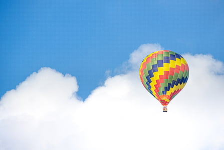 färgglada, blå himmel, Cumulus, luft, heta, ballong, Sky