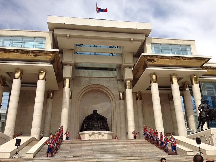ulaanbaatar, mongolia, blue sky, government, chinggis khan, flag, central asia