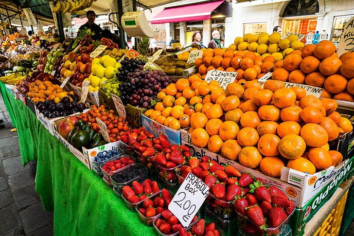 овощной рынок, фруктовый рынок, Венеция, Италия, фрукты, овощи, рынок